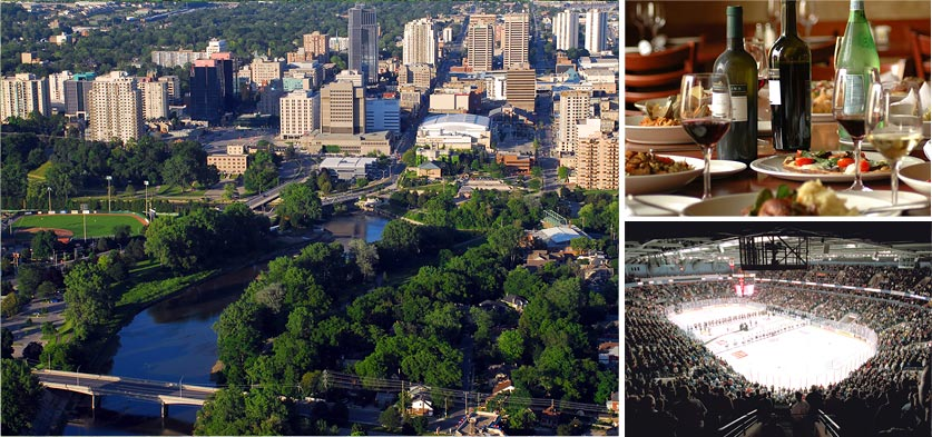 Collage of pictures of London scenery, downtown london, Budweiser Gardens, table setting of food and wine
