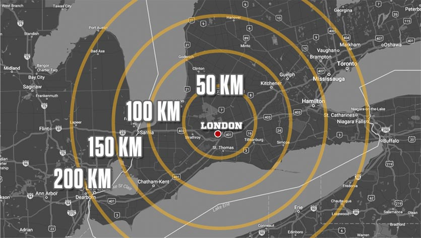 Distance of locations surrounding London, Ontario